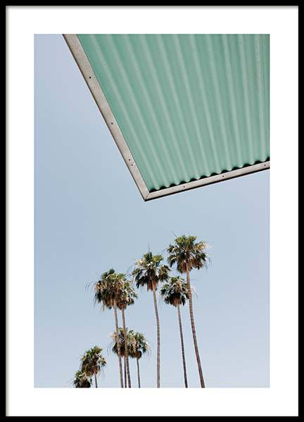Palm Trees Against Blue Sky Poster in der Gruppe Poster / Naturmotive bei Desenio AB (10220)