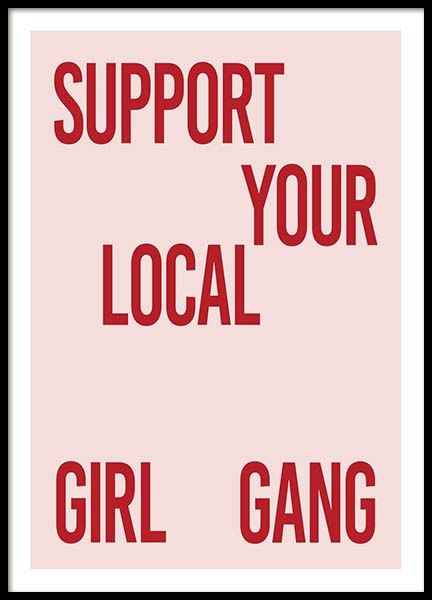 Support Your Girl Gang Poster in der Gruppe Poster / Typografie Poster bei Desenio AB (10295)