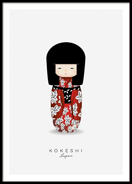 Kokeshi Doll Red Poster in der Gruppe Poster / Kinder bei Desenio AB (11454)