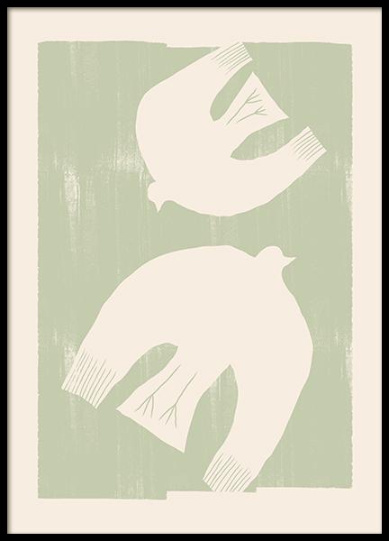 Birds in Green Poster