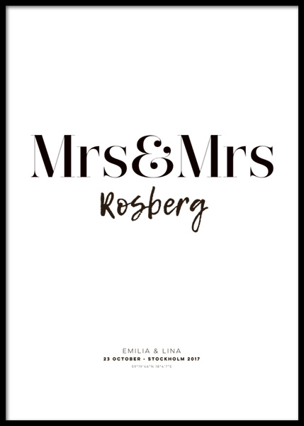 Mrs and Mrs Personal Poster in der Gruppe Poster / Personalisierte Poster bei Desenio AB (pp0012)