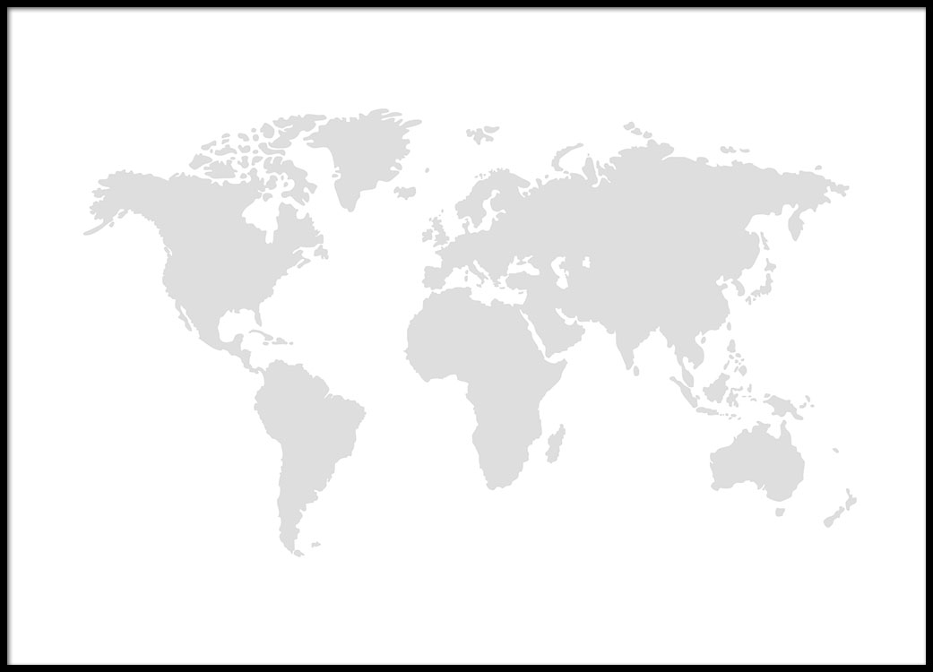 World Map Grey, Poster