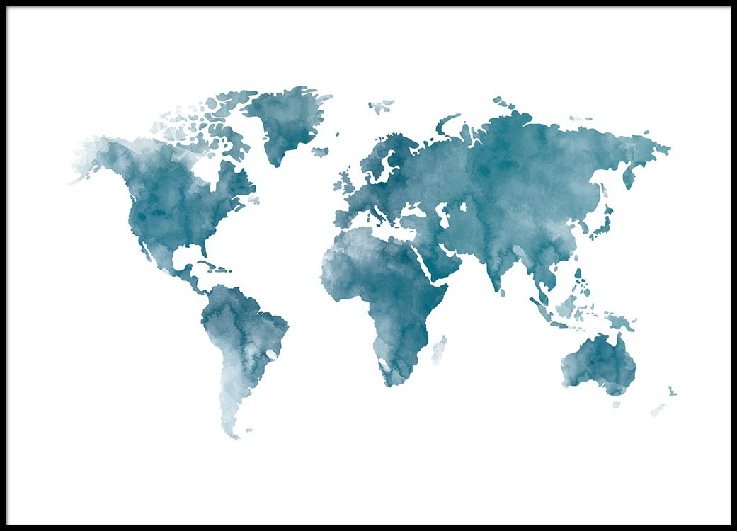 World Map Blue, Poster
